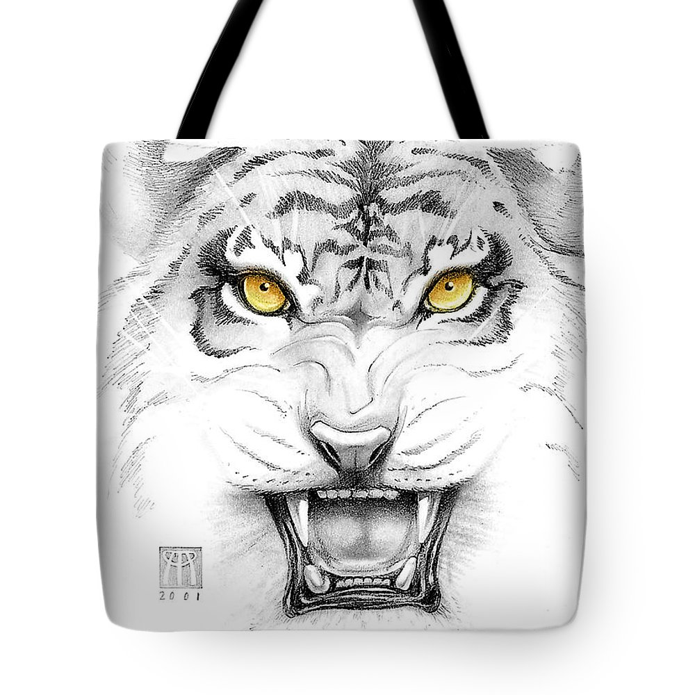 Amber Tote Bag featuring the digital art Golden Tiger Eyes by Melissa A Benson