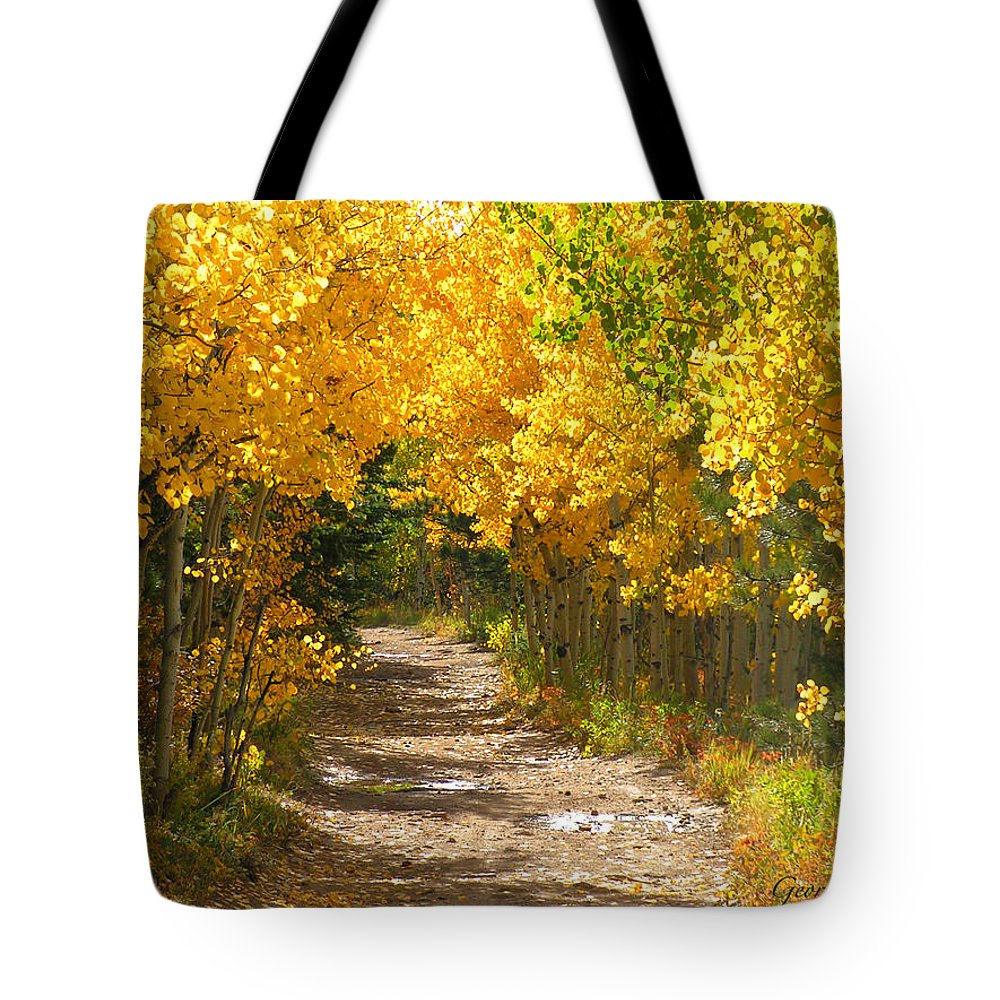 Fall Autumn Walk Path Hike Aspen Rocky Mountains Goldhill Sunny Tote Bag featuring the photograph Golden Tunnel by George Tuffy
