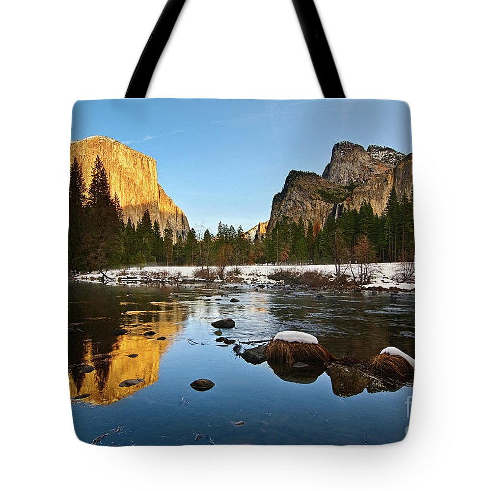 Yosemite Tote Bag featuring the photograph Golden View - Yosemite National Park. by Jamie Pham