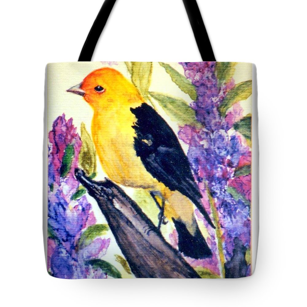Birds Tote Bag featuring the painting Goldfinch by Gail Kirtz