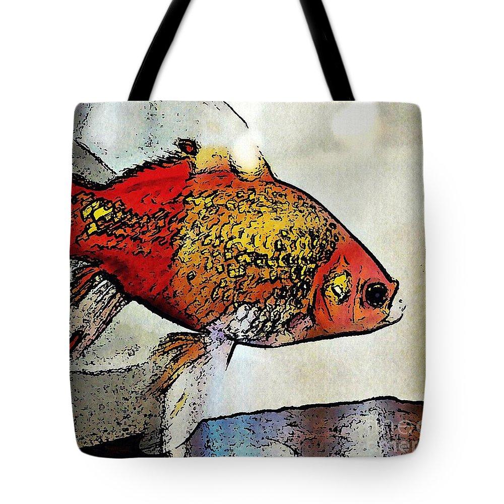 Goldfish Tote Bag featuring the photograph Goldfish by Sarah Loft