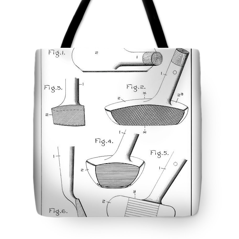 Golf Club Patent Tote Bag featuring the photograph Golf Clubs Patent - Restored Patent Drawing For The 1903 A. F. Knight Golf Clubs by Jose Elias - Sofia Pereira