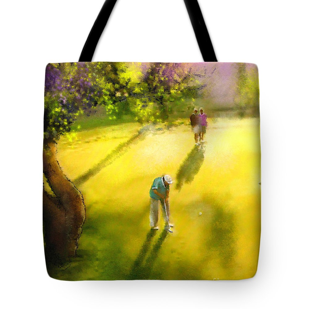 Golf Tote Bag featuring the painting Golf In Spain Castello Masters 01 by Miki De Goodaboom