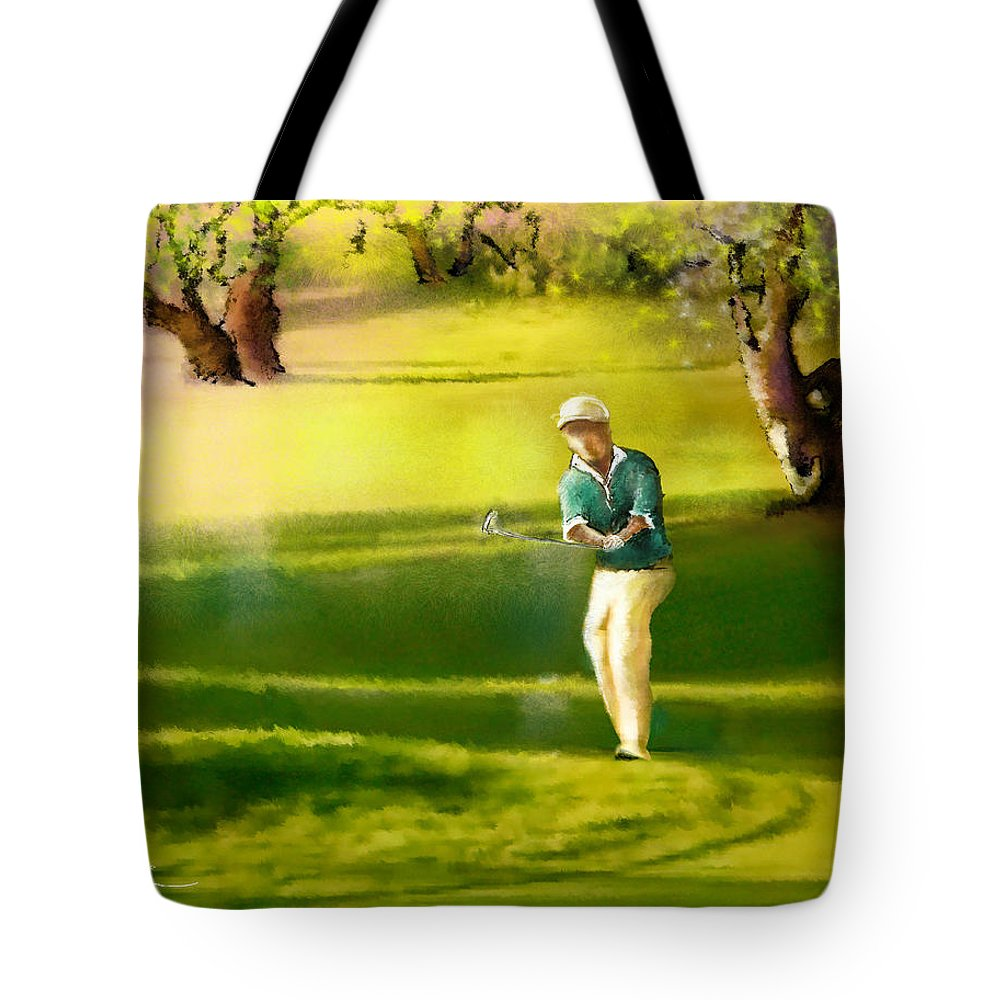 Sports Tote Bag featuring the painting Golf In Spain Castello Masters 02 by Miki De Goodaboom