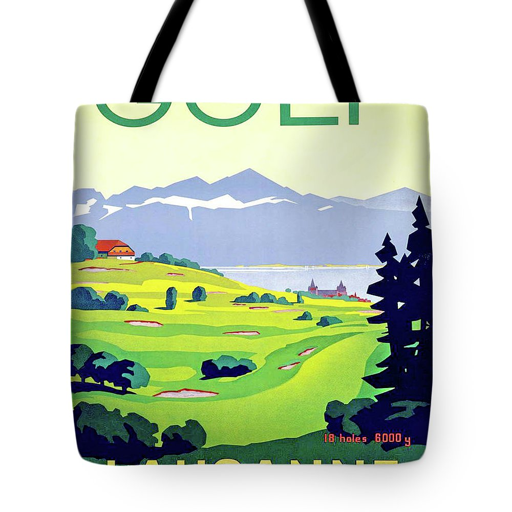 Golf Tote Bag featuring the digital art Golf, Lausanne, Switzerland, Travel Poster by Long Shot