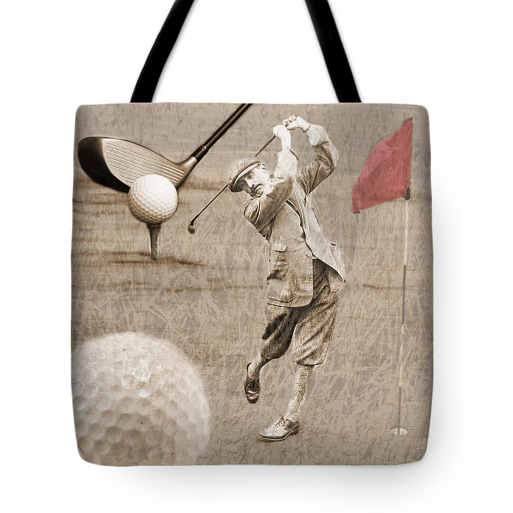 Golf Tote Bag featuring the photograph Golf Red Flag Vintage Photo Collage by Karla Beatty