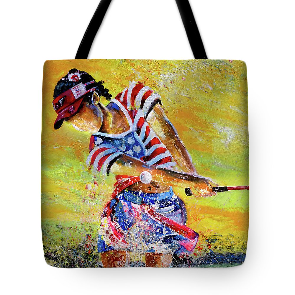 Sports Tote Bag featuring the painting Golf Sandsation by Miki De Goodaboom