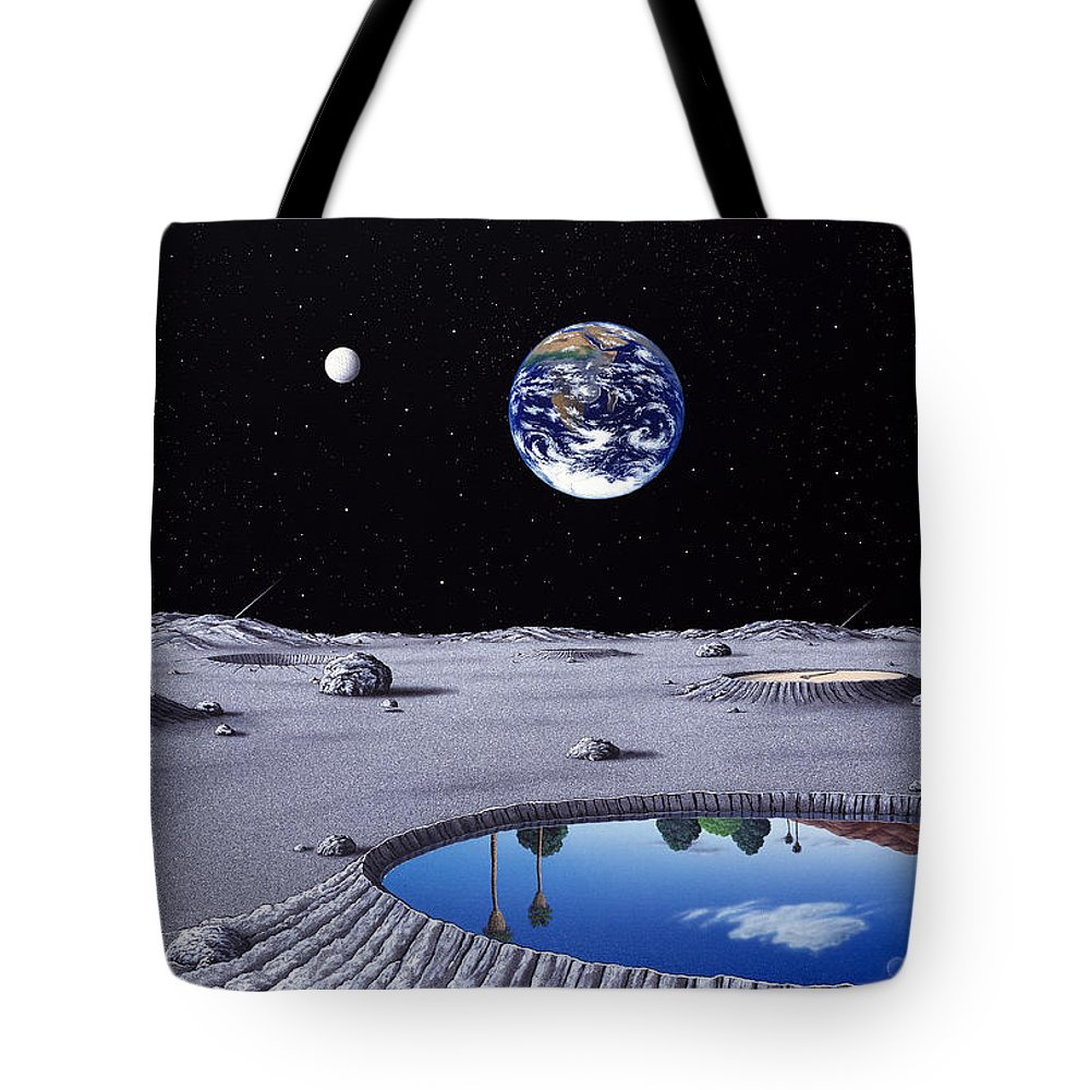 Landscape Tote Bag featuring the painting Golfing On The Moon by Snake Jagger