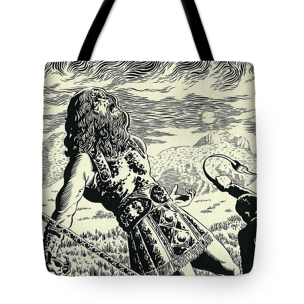 Goliath Tote Bag featuring the drawing Goliath by Lance Miyamoto