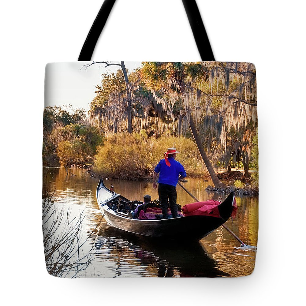 Gondola Tote Bag featuring the photograph Gondola In City Park Lagoon New Orleans by Kathleen K Parker