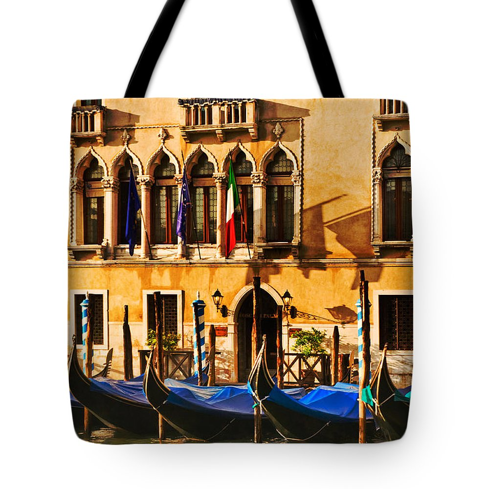 Venice Tote Bag featuring the photograph Gondola Parking Only by Mick Burkey