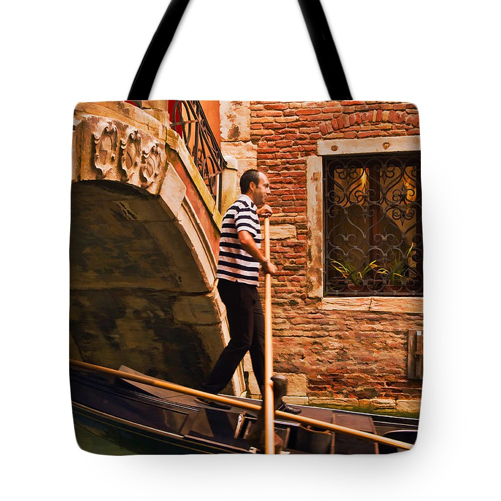Gondolier Tote Bag featuring the digital art Gondolier by Mick Burkey