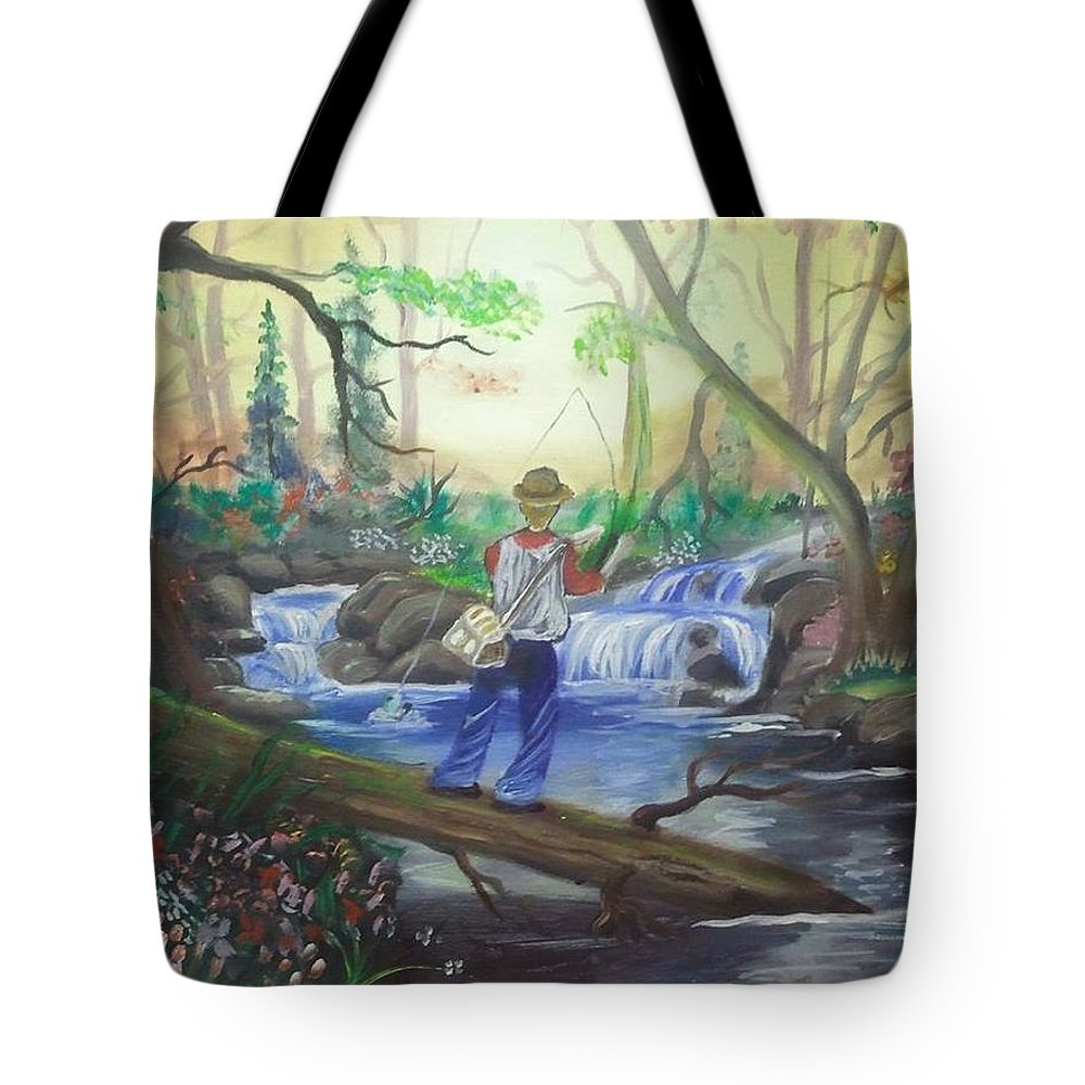 Fishing Tote Bag featuring the painting Gone Fishing by Andy Sharp