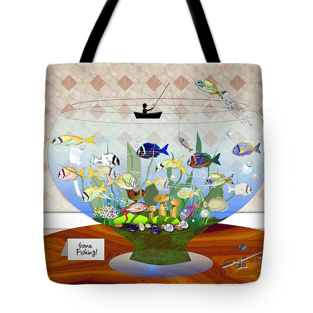 Fish Tote Bag featuring the digital art Gone Fishing by Arline Wagner