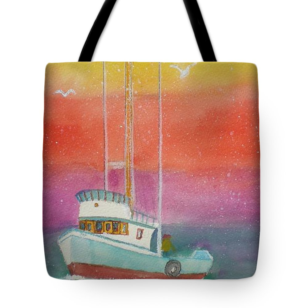 Ocean Tote Bag featuring the painting Gone Fishing At Midnight by Hal Newhouser