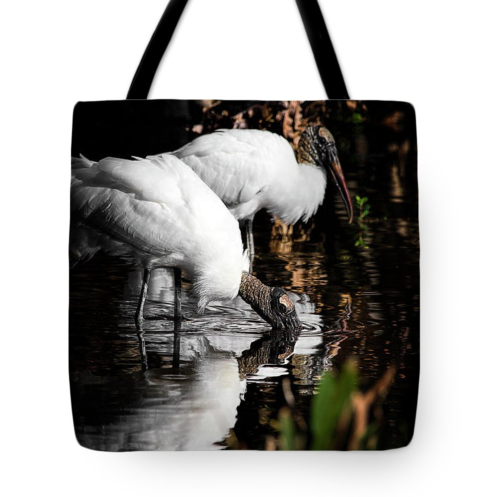 Stork Tote Bag featuring the photograph Gone Fishing by Cyndy Doty
