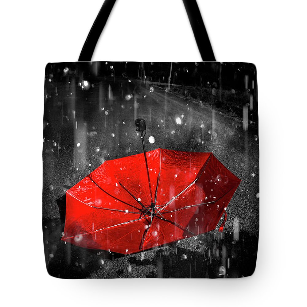 Red Tote Bag featuring the digital art Gone With The Rain by Jorgo Photography - Wall Art Gallery