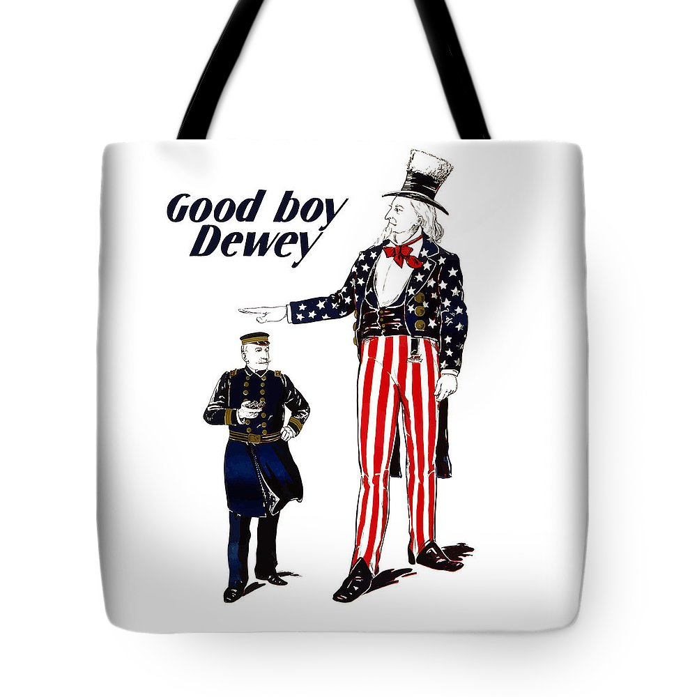 Uncle Sam Tote Bag featuring the painting Good Boy Dewey by War Is Hell Store