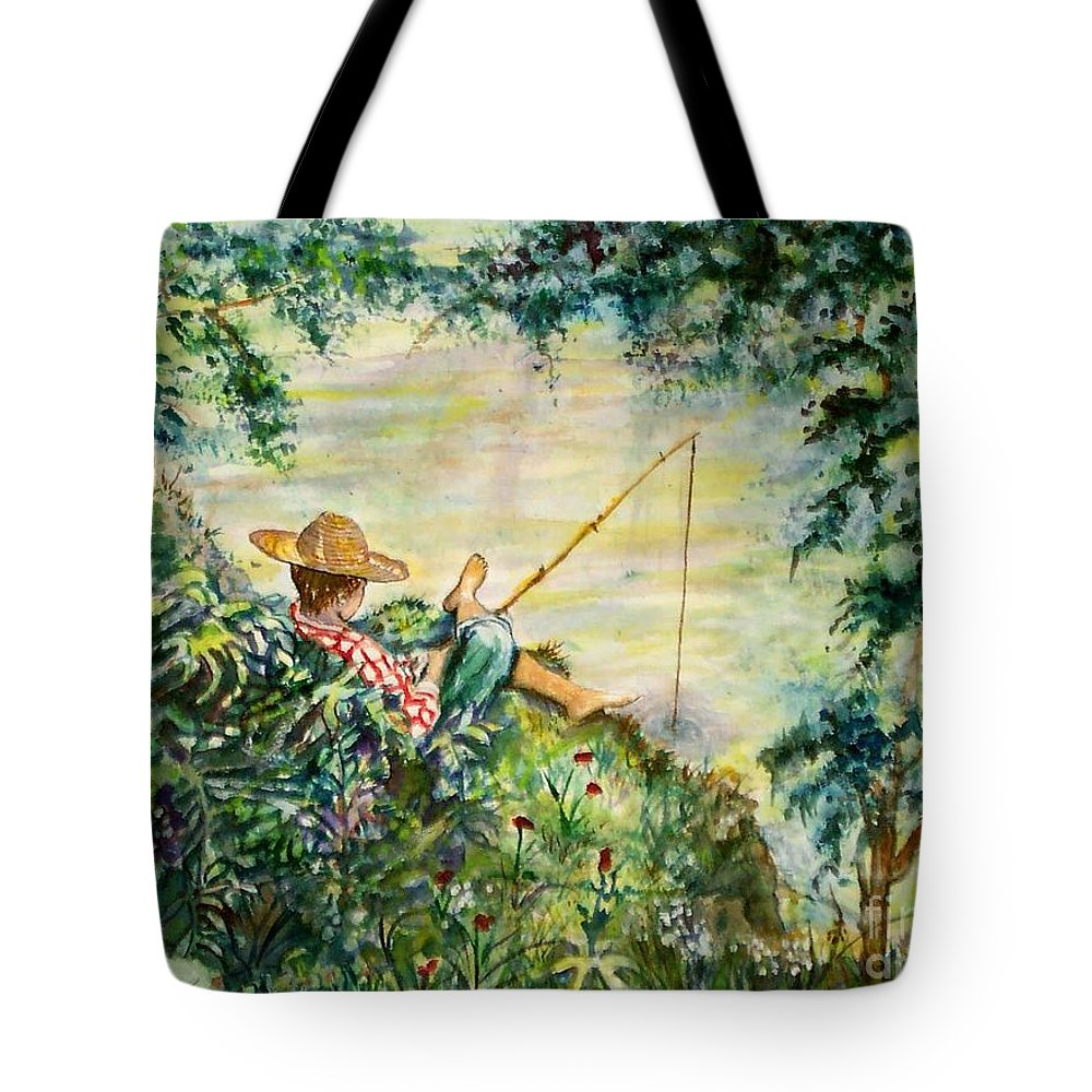 Landscape Tote Bag featuring the painting Good Fishing by Norma Boeckler