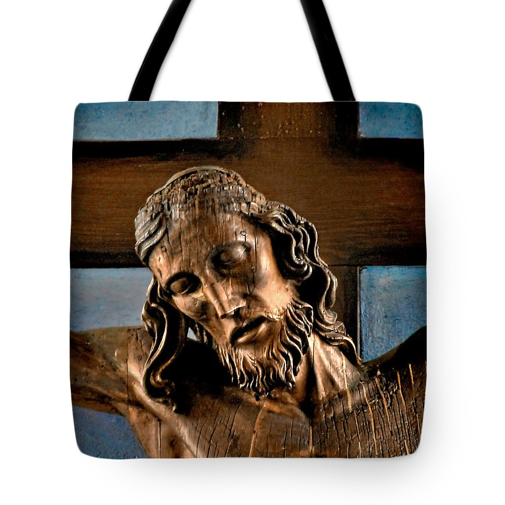 Easter Tote Bag featuring the photograph Good Friday Jesus On The Cross by Christine Till