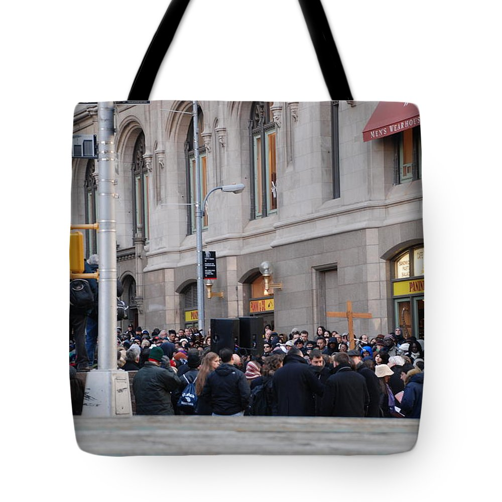Church Tote Bag featuring the photograph Good Friday On Trinity Place by Rob Hans