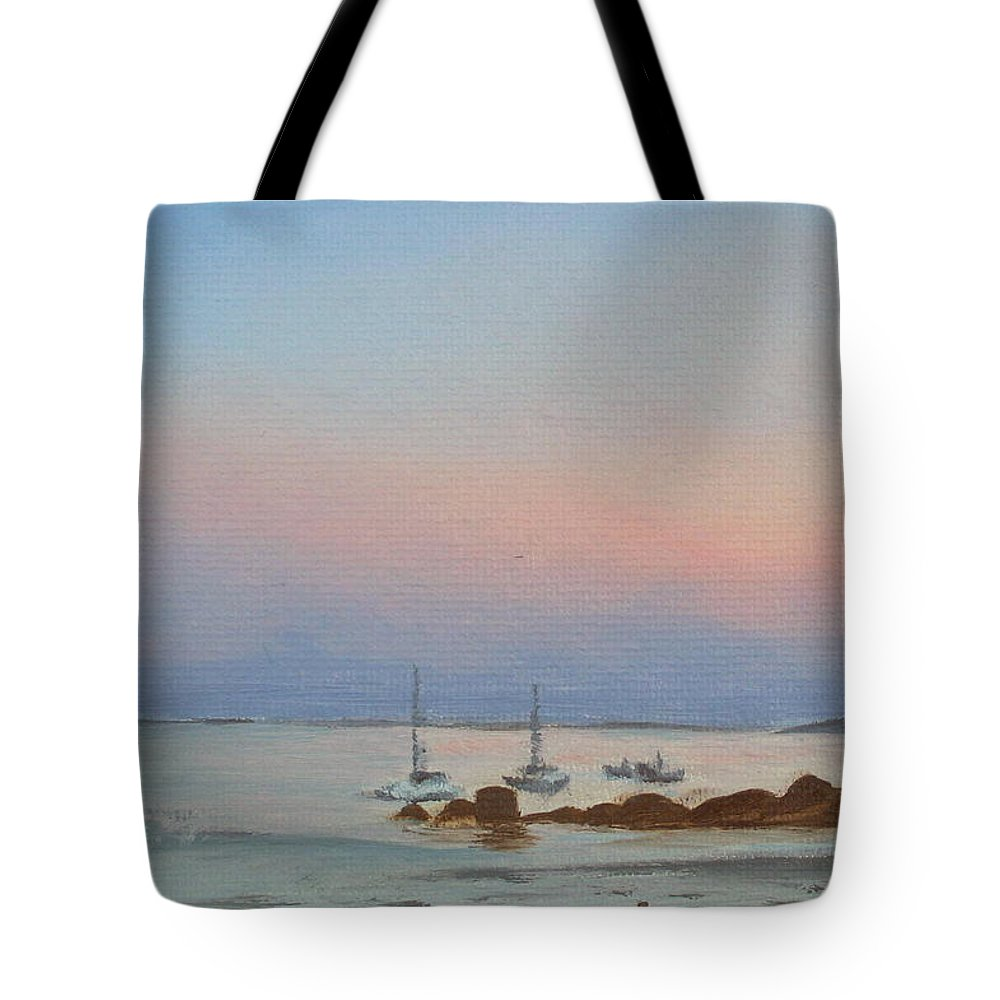 Seascape Tote Bag featuring the painting Good Harbor by Lea Novak