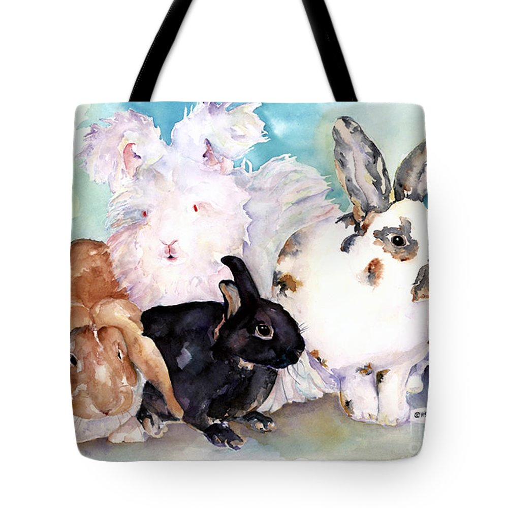 Animal Artwork Tote Bag featuring the painting Good Hare Day by Pat Saunders-White
