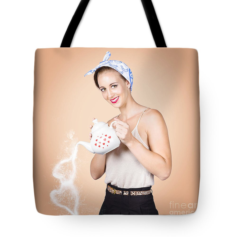 Coffee Tote Bag featuring the photograph Good Looking Female Pouring Hot Coffee Love by Jorgo Photography - Wall Art Gallery