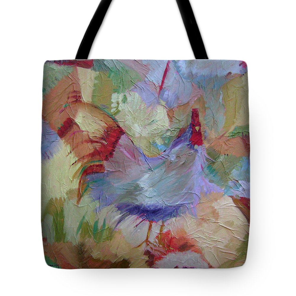 Chicken Paintings Tote Bag featuring the painting Good Morning by Ginger Concepcion