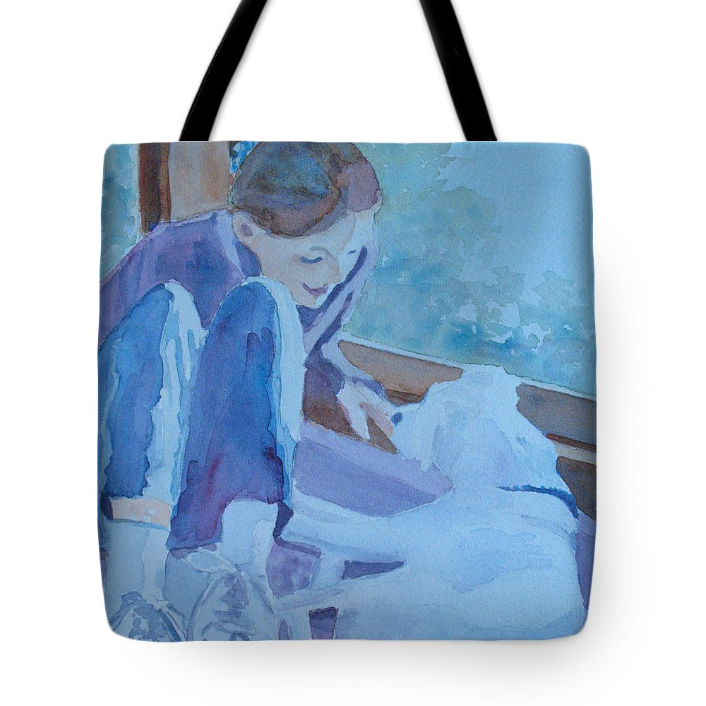 Girl Tote Bag featuring the painting Good Morning Puppy by Jenny Armitage