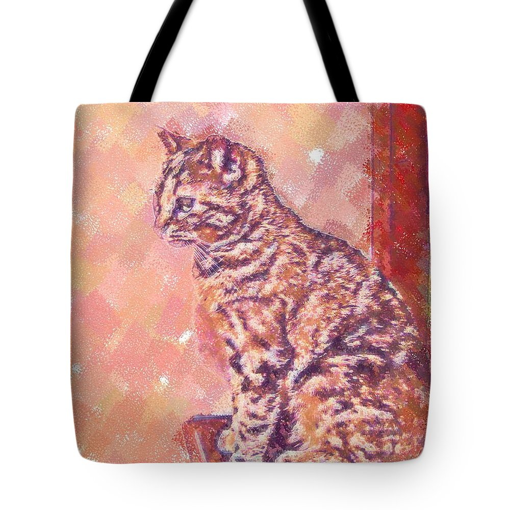 Cat Tote Bag featuring the digital art Good Tabby by Nora Martinez