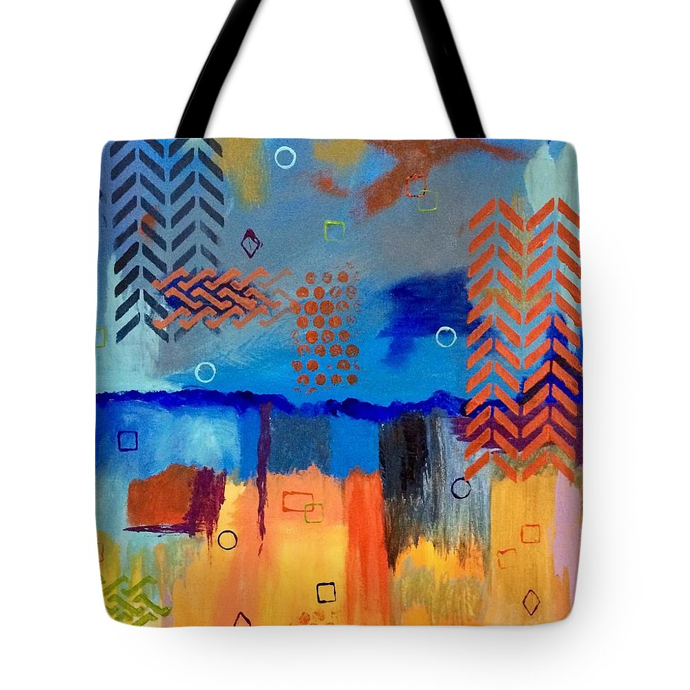 Abstract Tote Bag featuring the painting Good Vibes by Terri Huffman