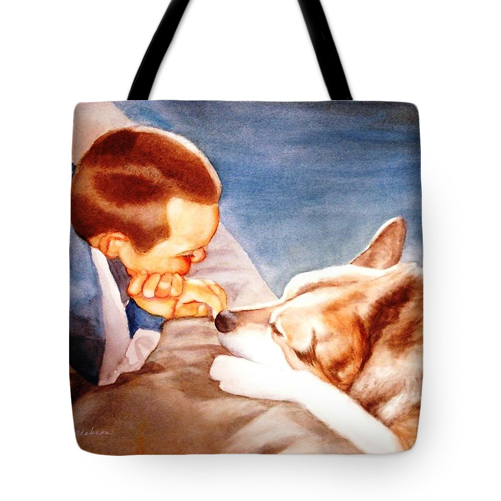 Boy & Dog Tote Bag featuring the painting Goodbye Misty by Marilyn Jacobson
