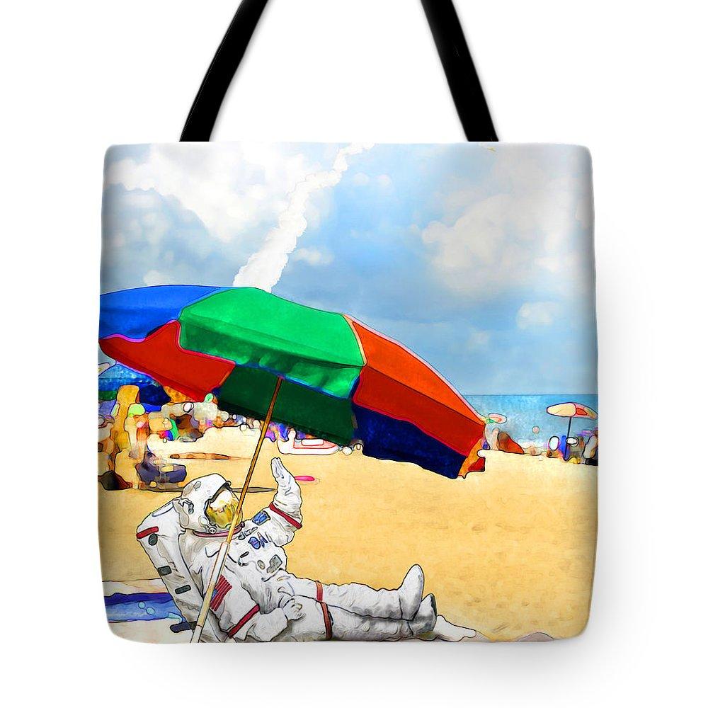Shuttle Tote Bag featuring the digital art Goodbye Shuttle by Francesa Miller