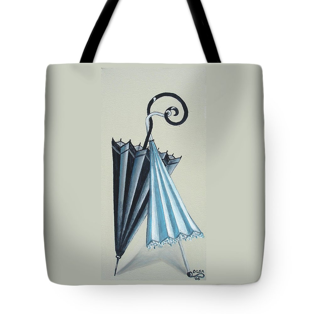 Umbrellas Tote Bag featuring the painting Goog Morning by Olga Alexeeva