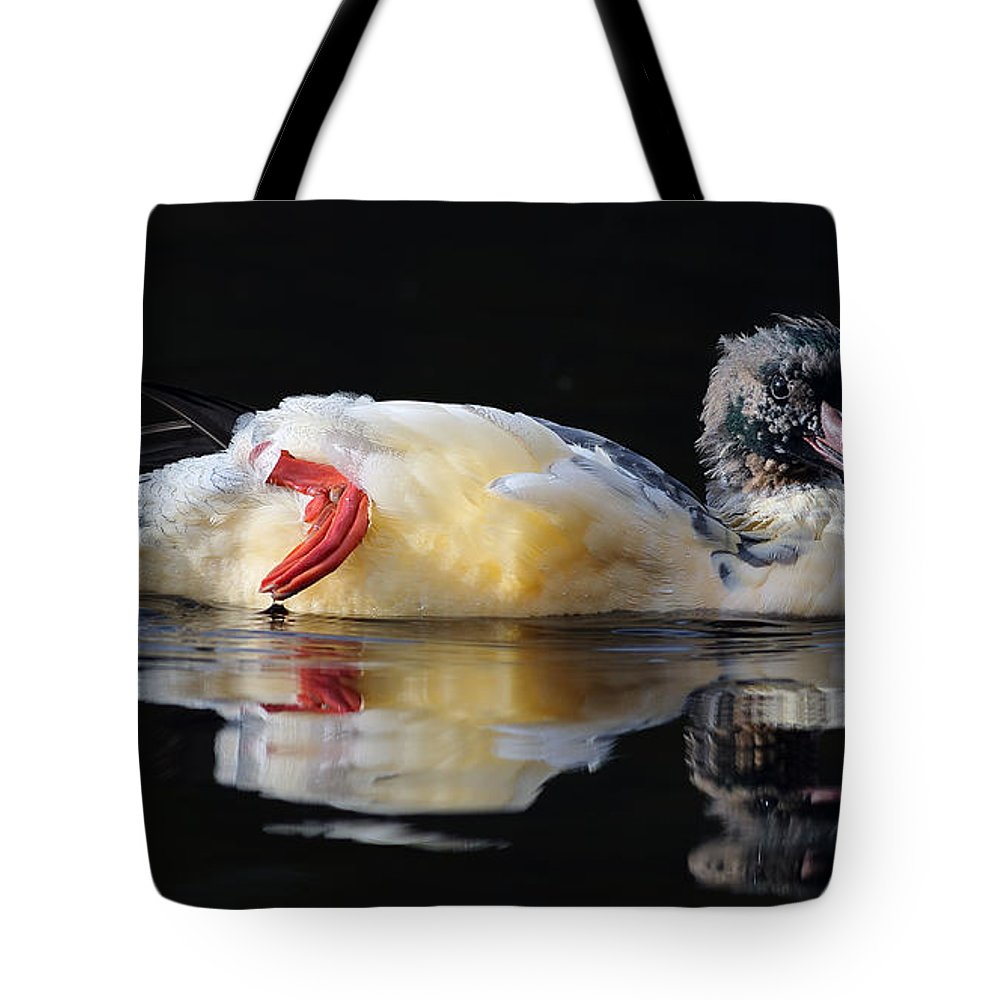 Goosander Tote Bag featuring the photograph Goosander by Grant Glendinning
