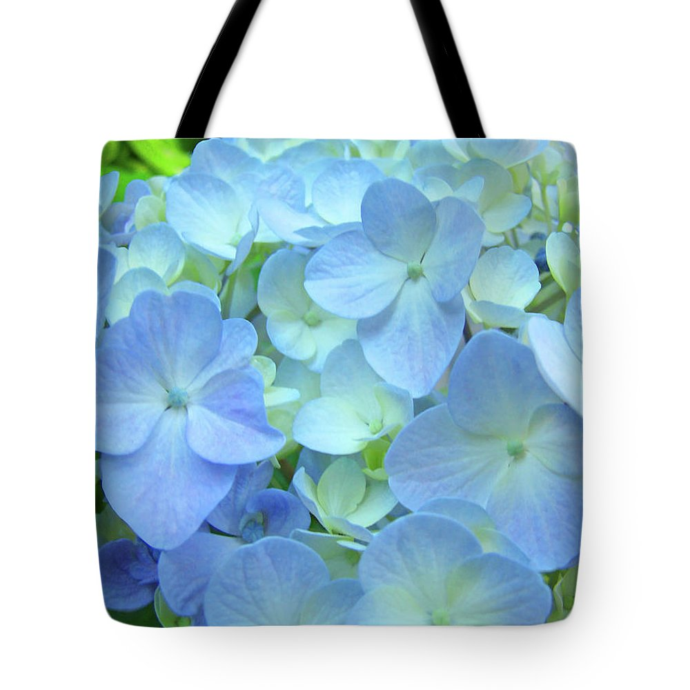 Gorgeous Tote Bag featuring the photograph Gorgeous Blue Colorful Floral Art Hydrangea Flowers Baslee Troutman by Baslee Troutman
