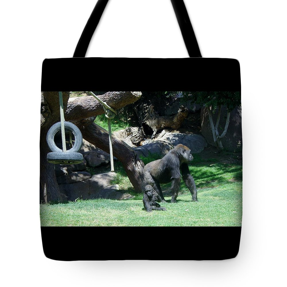 Gorillas Tote Bag featuring the photograph Gorillas Mary Joe Baby And Emonty Mother 7 by Phyllis Spoor
