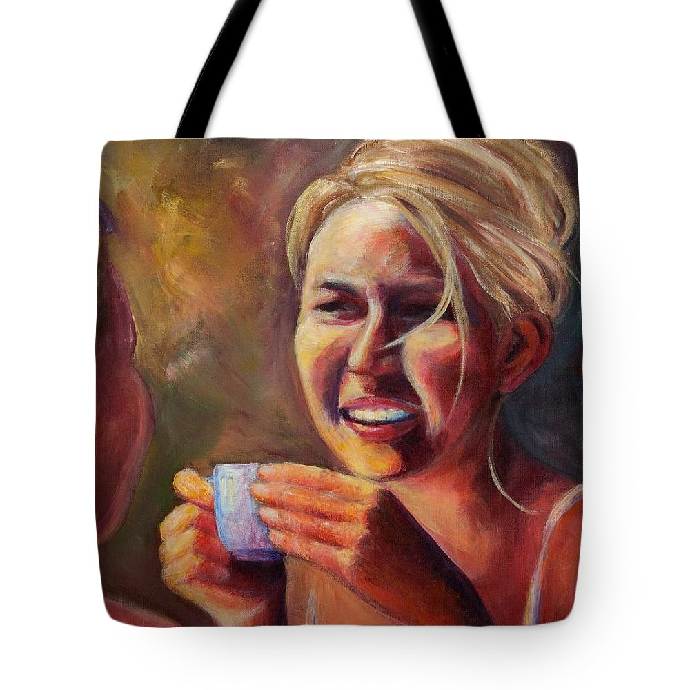 Girl Tote Bag featuring the painting Gossip by Jason Reinhardt