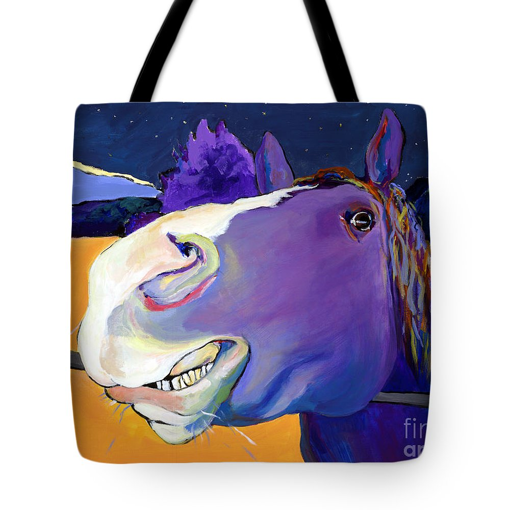 Barnyard Animal Tote Bag featuring the painting Got Oats   by Pat Saunders-White