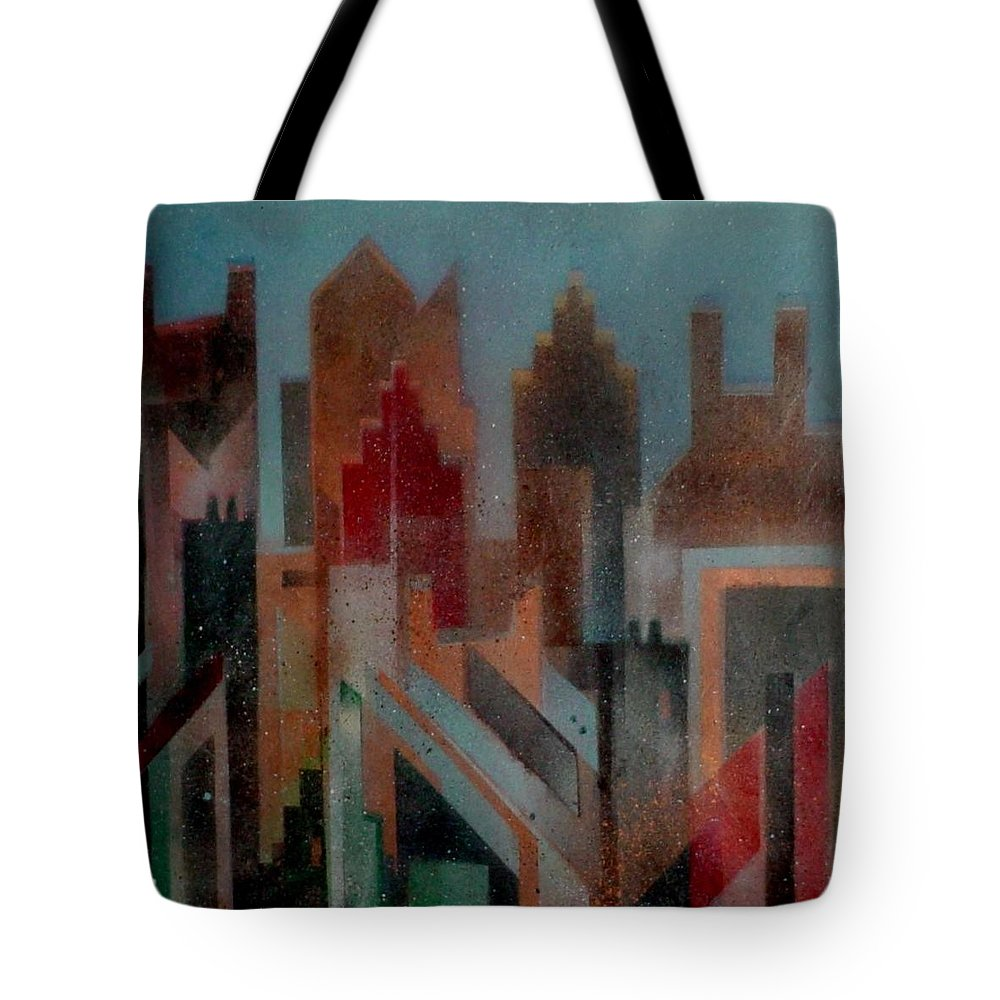 Abstract Tote Bag featuring the painting Gothem City by Anita Burgermeister