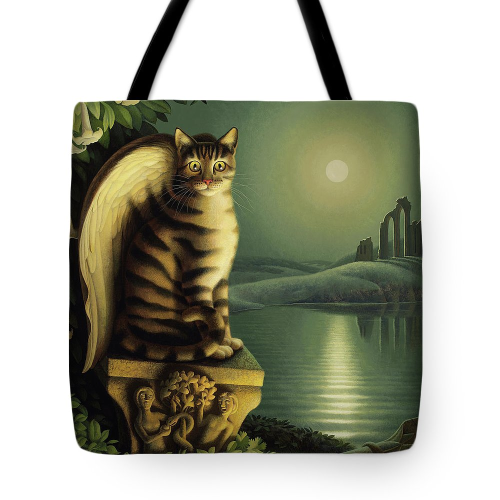 Cat Tote Bag featuring the painting Gothic by Chris Miles