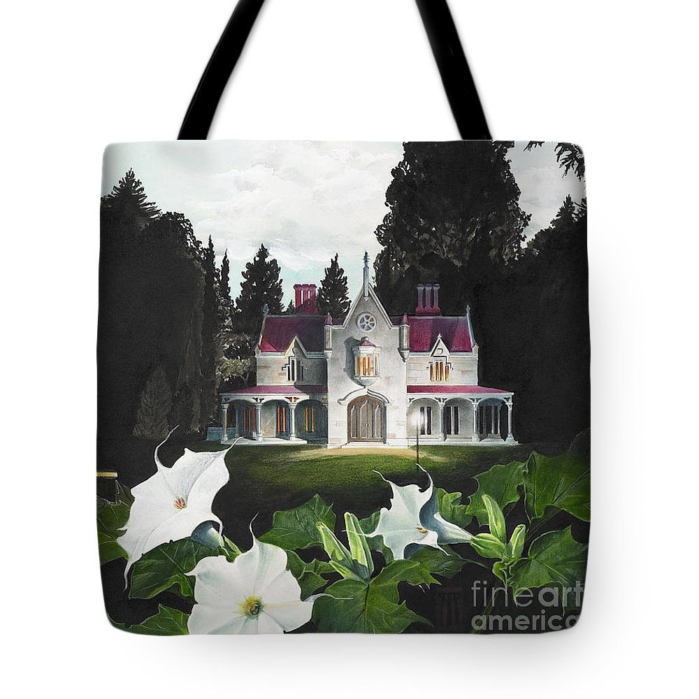 Fantasy Tote Bag featuring the painting Gothic Country House Detail From Night Bridge by Melissa A Benson