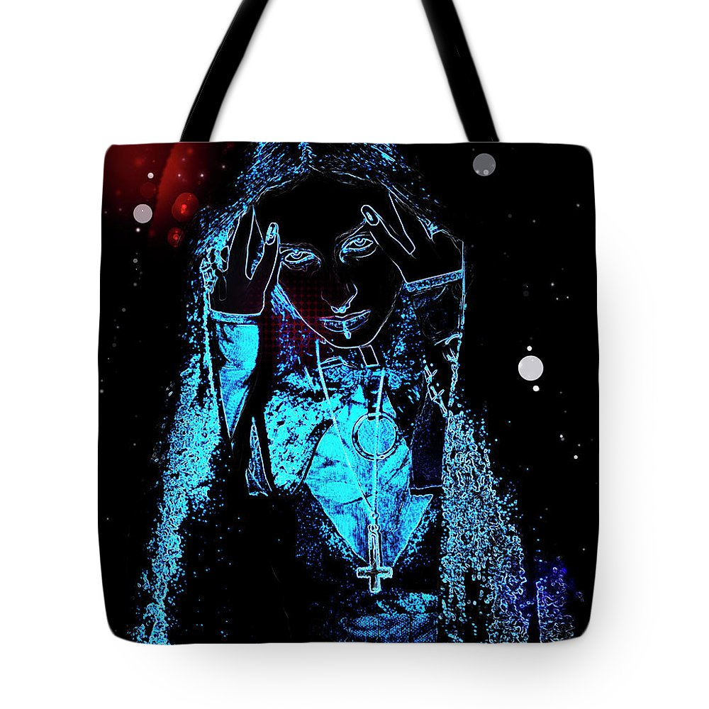 Psi Tote Bag featuring the photograph Gothic Female Model by Humorous Quotes