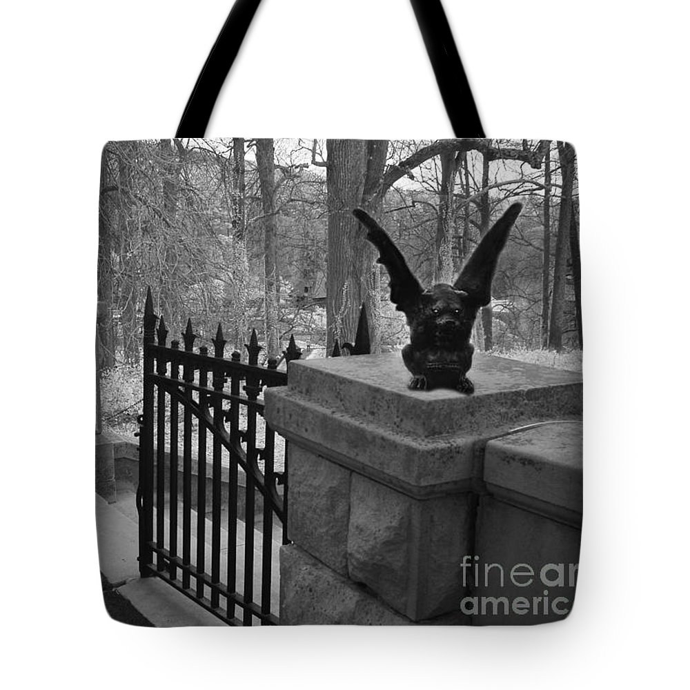 Gothic Gargoyles Tote Bag featuring the photograph Surreal Gothic Gargoyle With Raven Black And White Gothic Gargoyles Gate Scene by Kathy Fornal