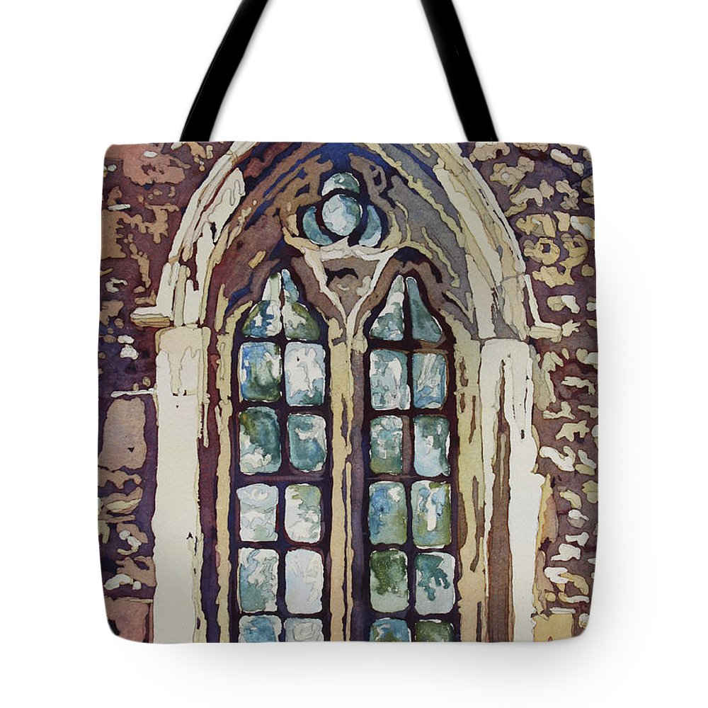 Gothic Tote Bag featuring the painting Gothic Window by Jenny Armitage