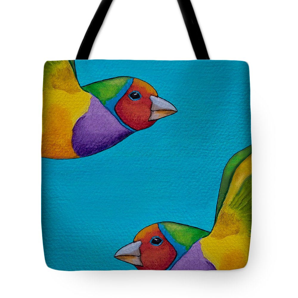 Gouldian Finch Tote Bag featuring the painting Gouldian Finches by Robert Lacy