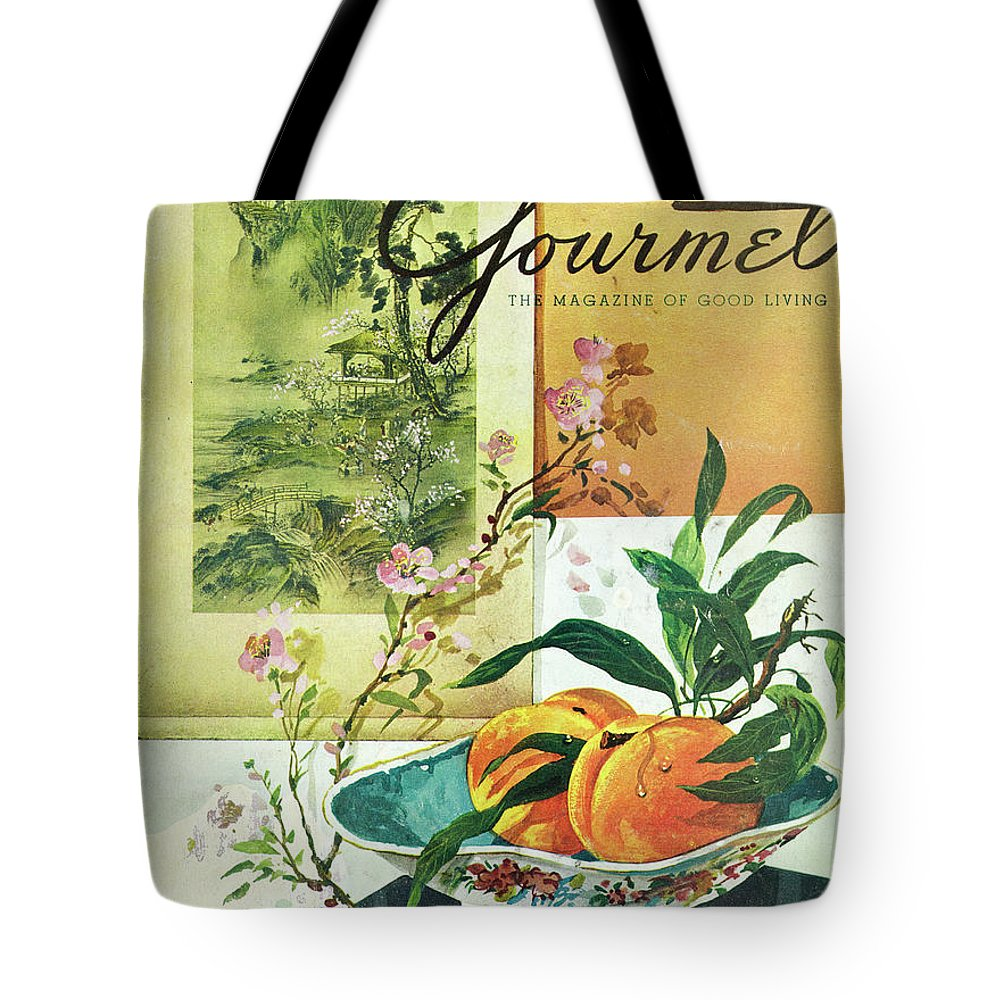 Food Tote Bag featuring the photograph Gourmet Cover Featuring A Bowl Of Peaches by Henry Stahlhut