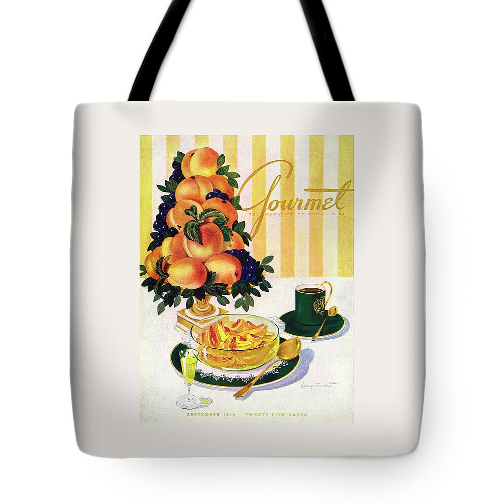 Illustration Tote Bag featuring the photograph Gourmet Cover Featuring A Centerpiece Of Peaches by Henry Stahlhut