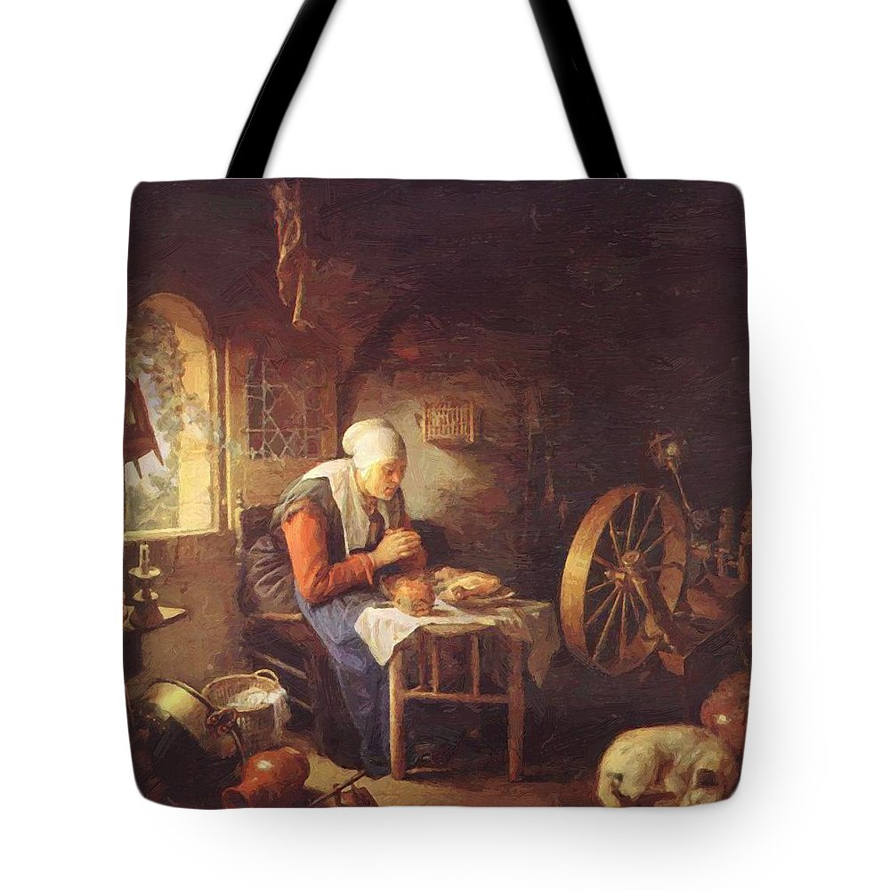 Grace Tote Bag featuring the painting Grace Before Meat by Dou Gerrit